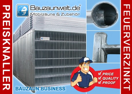 Bauzaun BUSINESS inkl. Transportpalette, Betonstein und Verbinder 30er Set